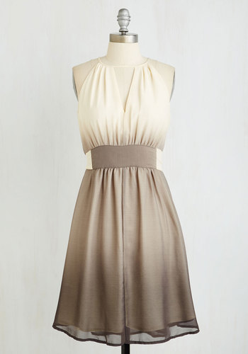 In Gradient Demand Dress in Smoke - Tan / Cream, Ombre, Cutout, Party, Sleeveless, Better, Long, Chiffon, Woven, Grey, Homecoming, Fit & Flare