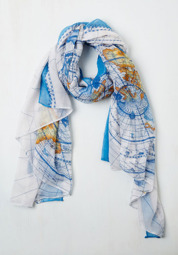 Creative Crusader Scarf - Blue, Print, Nautical, Safari, Travel, Multi