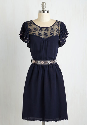 Indie Darling Dress in Navy - Blue, Tan / Cream, Embroidery, Lace, Ruffles, Trim, Casual, Vintage Inspired, A-line, Short Sleeves, Belted, Sheer, Best Seller, Folk Art, Spring, Mid-length, 70s