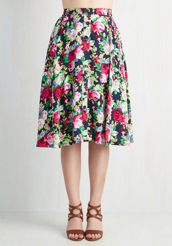 With Books to Match Skirt in Roses