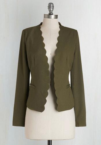 Detour du Jour Blazer in Olive - Short, Woven, Green, Solid, Scallops, Work, Long Sleeve, Fall, 1, 80s, 90s, Good, Green