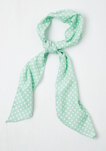 Bow to Stern Scarf in Sea Foam Dots - Vintage Inspired, Green, White, Polka Dots, Basic, Spring, Nautical, Beach/Resort, Pastel, Top Rated