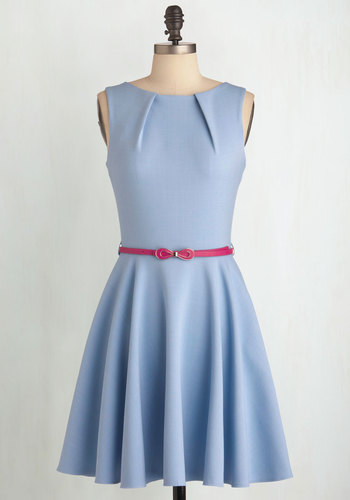 Luck Be a Lady Dress in Powder Blue - Blue, Solid, Exposed zipper, Pockets, Work, Fit & Flare, Belted, Bows, Pleats, Sleeveless, Pastel, Cocktail, Variation, Mid-length