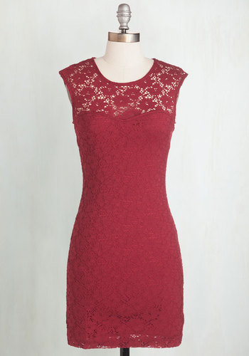 Ruby Blooms Dress - Red, Solid, Crochet, Cutout, Lace, Sleeveless, Sheer, Best Seller, Variation, Valentine's, Lace, Mid-length, Bodycon / Bandage, Top Rated, Girls Night Out, Colorsplash