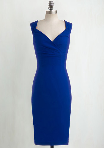 Lady Love Song Dress in Sapphire - Variation, Blue, Solid, Cocktail, Sleeveless, Pinup, Vintage Inspired, 50s, Best Seller, Full-Size Run, Long, Special Occasion, Bodycon / Bandage