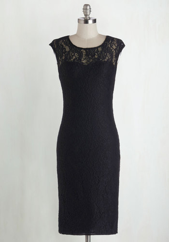 Sweet Intentions Dress - Black, Solid, Lace, Party, Cocktail, Vintage Inspired, Cap Sleeves, Long, Sheer, Variation, Scoop, Knit, LBD, Lace, Best Seller, Sheath, Top Rated, Girls Night Out