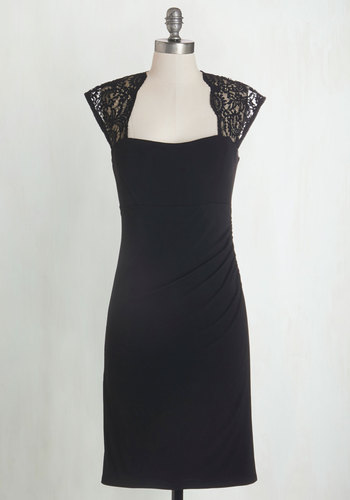 Red Carpet Coverage Dress - Black, Solid, Lace, Scallops, Special Occasion, Cap Sleeves, Knit, Good, Sweetheart, Cocktail, LBD, Mid-length, Girls Night Out, Valentine's, Bodycon / Bandage