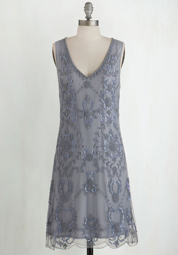 Bead It Dress in Grey - Beads, Sequins, Special Occasion, Party, Vintage Inspired, 20s, Shift, Sleeveless, Woven, Better, Variation, V Neck, Grey, Sheer, Pastel, WPI, Prom, Homecoming