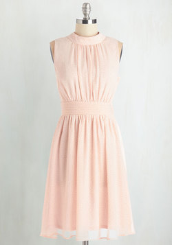 Windy City Dress in Pink Pin Dots
