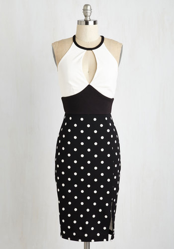 Parade Up My Mind Dress - Mid-length, Knit, Black, White, Polka Dots, Print, Cutout, Girls Night Out, Sheath, Sleeveless, Better