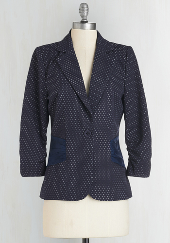 Spotted on the Street Blazer - Woven, Mid-length, Blue, Polka Dots, Buttons, Work, 3/4 Sleeve, Good, Collared, 3/4 Sleeve, White, 1, Print, Top Rated, Pockets, Scholastic/Collegiate, Fall, Tis the Season Sale