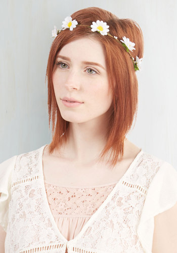 Fest Me If You Can Headband - White, Yellow, Green, Tan / Cream, Flower, Boho, Festival, Better, White, Vintage Inspired, 70s