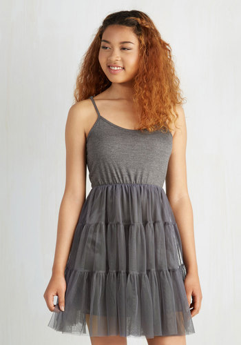 Give Me Gracefulness Full Slip in Grey - Grey, Solid, Ruffles, Vintage Inspired, Ballerina / Tutu, Variation, Darling