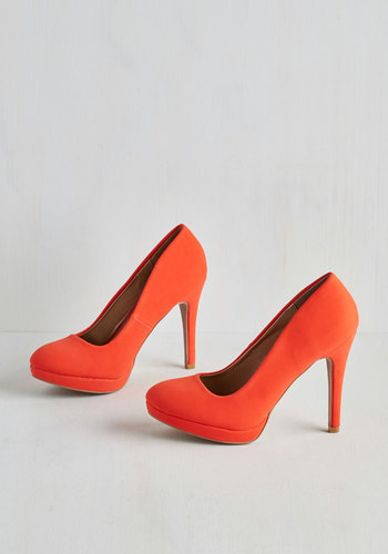 Pump it Up Heel in Tangerine - High, Faux Leather, Orange, Solid, Party, Minimal, Good, Variation