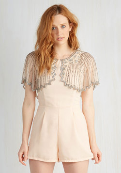 And the Shimmer Is Romper in Peach