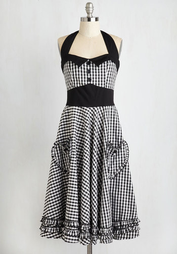 Salty and Pepper Dress - Checkered / Gingham, Buttons, Pockets, Ruffles, Trim, Casual, Rockabilly, Vintage Inspired, A-line, Halter, Black, White, Best Seller, Pinup, Valentine's, Full-Size Run, Halloween, Long, Top Rated