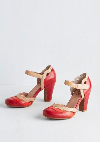 Sights in the City Heel in Poppy $129.99 AT vintagedancer.com