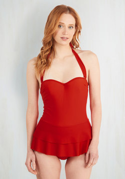 Wade a Minute Swim Dress in Rouge