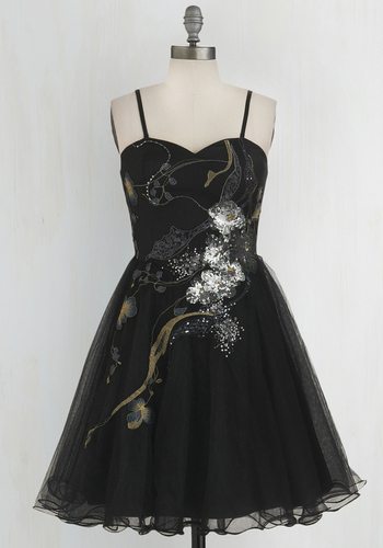 Perfect Poise Dress in Night Blossom - Black, Silver, Print, Special Occasion, Prom, Homecoming, Fit & Flare, Strapless, Better, Sweetheart, Woven, Tulle, Embroidery, Sequins, Spaghetti Straps, Variation, Mid-length, Party, Holiday Party, Top Rated, Exclusives