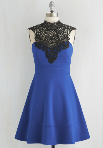 Guest Who? Dress - Blue, Black, Crochet, Special Occasion, Prom, Party, Homecoming, A-line, Cap Sleeves, Better, Knit