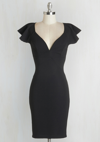 Pinot Noir, Please Dress in Black - Black, Solid, Girls Night Out, LBD, Knit, Good, Sweetheart, Mid-length, Short Sleeves, Cocktail, Sheath