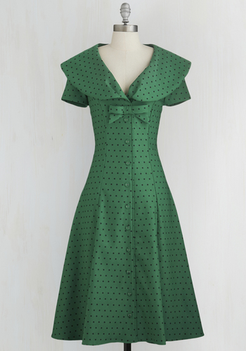 Start-Up Star Dress in Forest - Green, Black, Variation, Polka Dots, Bows, Buttons, Casual, Rockabilly, Vintage Inspired, 50s, Fit & Flare, Short Sleeves, Woven, Better, Collared, Full-Size Run, Long