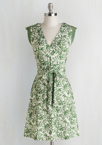 Earthen Errands Dress - Green, White, Floral, Belted, Casual, A-line, Sleeveless, Better, V Neck, Knit, Short, Sundress, Full-Size Run