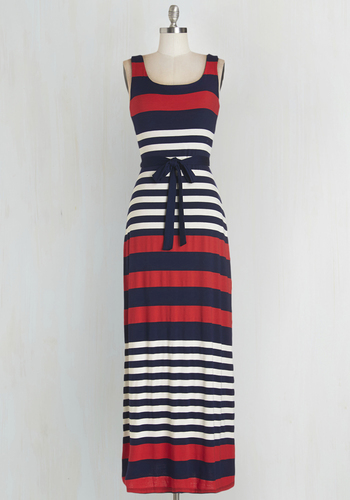 Cheers on the Cape Dress - Stripes, Belted, Casual, Beach/Resort, Americana, Maxi, Sleeveless, Summer, Knit, Better, Scoop, Long, Multi, Red, Blue, White, Nautical, Social Placements, Top Rated