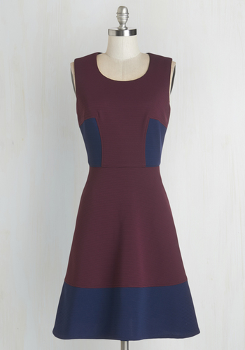 Attentive Audience Dress - Blue, Purple, Casual, Colorblocking, A-line, Sleeveless, Woven, Good, Pockets, Full-Size Run, Mid-length
