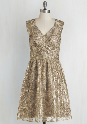 Twinkling at Twilight Dress in Champagne - Gold, Tan / Cream, Sequins, Cocktail, Holiday Party, V Neck, Better, Woven, Cap Sleeves, Prom, Party, Lace, Mid-length, Homecoming, Special Occasion, Full-Size Run, Wedding, Solid, Bridesmaid, Cutout, 20s, Fit & Flare