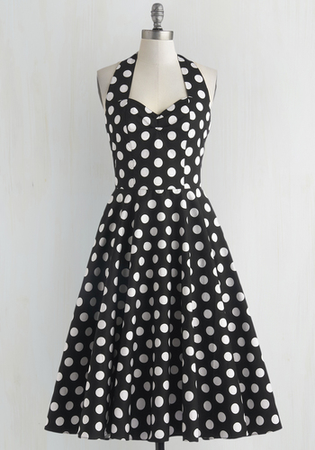 Like, Oh My Dot! Dress in Black - Black, White, Polka Dots, Casual, Fit & Flare, Halter, Sweetheart, Full-Size Run, Mid-length, Pinup
