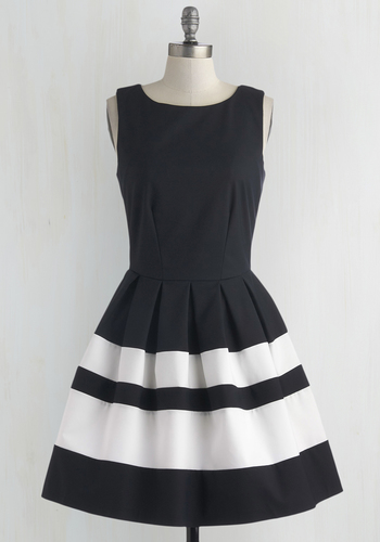 A Dreamboat Come True Dress in Nautical by Closet London - White, Exposed zipper, Pleats, Fit & Flare, Sleeveless, Nautical, Woven, Blue, Solid, Work, Colorblocking, Best Seller, Variation, Mid-length