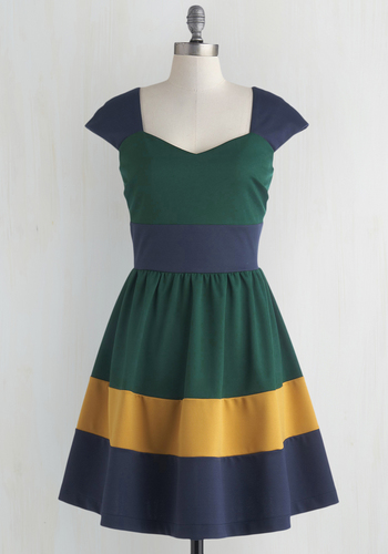 San Francisco Sorbet Dress in Evergreen - Green, Yellow, Blue, Colorblocking, Fit & Flare, Cap Sleeves, Sweetheart, Solid, Exclusives, Woven, Casual, Full-Size Run, Mid-length, Scholastic/Collegiate