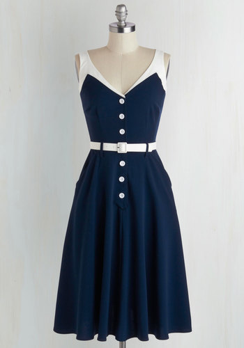 Sense of Tasteful Dress in Navy - Blue, White, Buttons, Pockets, Belted, Casual, A-line, Sleeveless, V Neck, Rockabilly, Vintage Inspired, 50s, Nautical, Variation, Americana, Sundress, Full-Size Run, Long, Top Rated