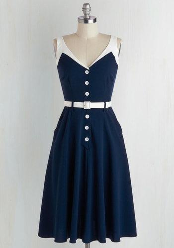 Sense of Tasteful Dress in Navy $125.99 AT vintagedancer.com