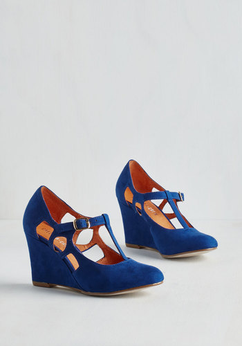 Fresh Blueberry Fields Wedge by Chelsea Crew - Blue, Solid, Cutout, Party, Holiday Party, Bridesmaid, High, Leather, Wedge, T-Strap