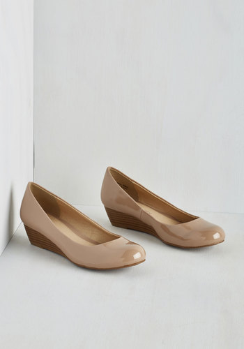 Commuter Genius Wedge in Beige - Low, Faux Leather, Cream, Solid, Work, Minimal, Good, Wedge, Basic, Top Rated, Daytime Party, Graduation