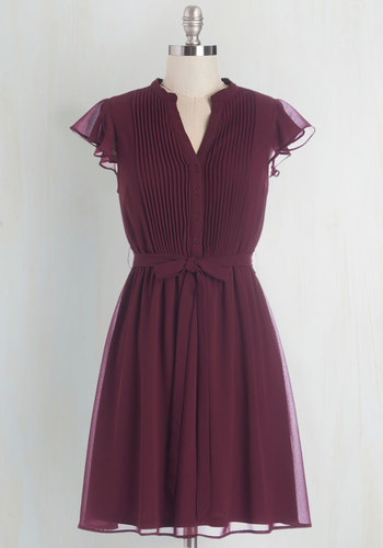 Thesis, That, and the Other Thing Dress - Purple, Solid, Buttons, Pleats, Belted, Work, Casual, A-line, Cap Sleeves, Woven, Good, V Neck, Mid-length, Scholastic/Collegiate
