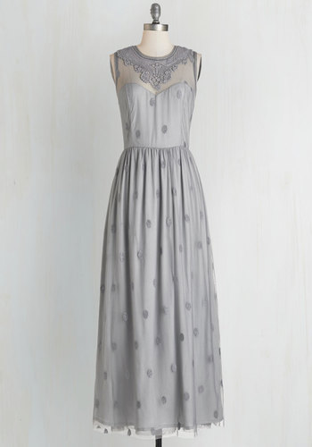 Ethereal Girl Dress in Fog - Grey, Solid, Lace, Special Occasion, Prom, Wedding, Bridesmaid, Vintage Inspired, Maxi, Sleeveless, Better, Variation, Homecoming, Woven, Long, Backless, Valentine's, Boho