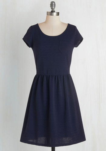 Clever Pour Dress - Blue, Solid, Pockets, Casual, A-line, Fall, Knit, Good, Scoop, Mid-length, Short Sleeves