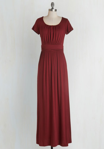 Fun of the Mill Dress - Red, Solid, Casual, Maxi, Short Sleeves, Fall, Knit, Good, Scoop, Long, Maternity, Top Rated