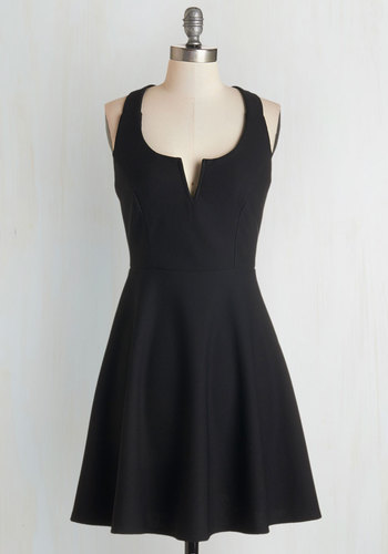Shared Laughter Dress in Black - Black, Solid, Party, Girls Night Out, A-line, Sleeveless, Knit, Good, Mid-length, Top Rated