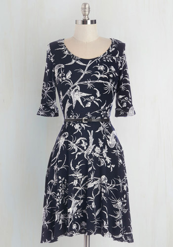 Bird to the Wise Dress - Blue, White, Floral, Casual, A-line, Short Sleeves, Fall, Knit, Better, Scoop, Belted, Mid-length