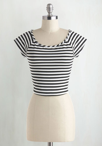 Roller Derby Date Striped Top in Black - Stripes, Rockabilly, Pinup, Cap Sleeves, Short, Cropped, Scoop, Nautical, Summer, 90s, Black, Good, Best Seller, Black, Short Sleeve, Americana, Spring, 4th of July Sale, Knit