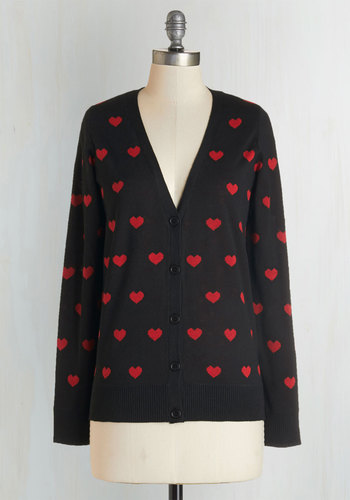 Nothing But Love Cardigan - Knit, Mid-length, Black, Red, Novelty Print, Buttons, Casual, V Neck, Fall, Winter, Valentine's
