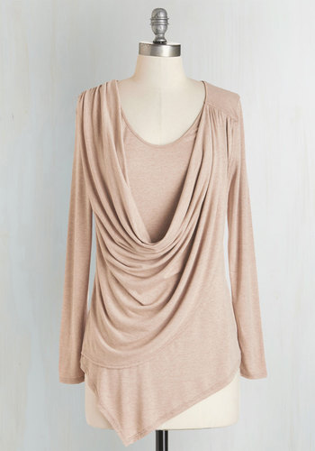 Draped in Delight Long-Sleeved Top in Sand - Tan, Solid, Casual, Long Sleeve, Variation, Brown, Long Sleeve, Cowl, Knit, Long