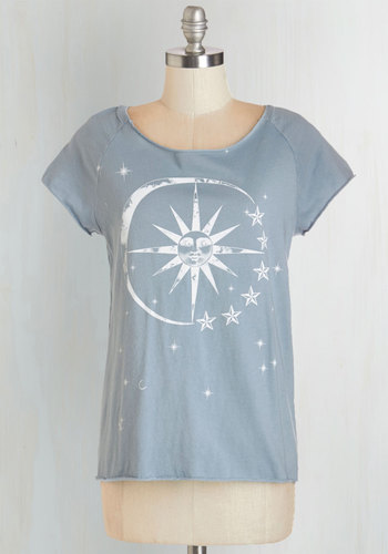 Smitten Under The Stars Tee - Knit, Cotton, Mid-length, Blue, White, Print, Casual, Cosmic, Short Sleeves