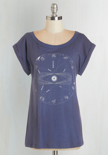 The Stars Align Tee - Cotton, Knit, Mid-length, Blue, White, Print, Casual, Cosmic, Short Sleeves