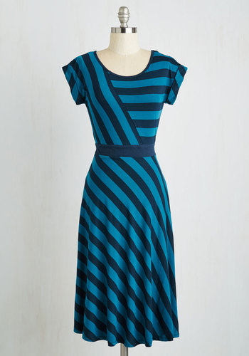 An Afternoon With You Dress in Blue - Stripes, Casual, A-line, Variation, Blue, Black, Best Seller, Full-Size Run, Nautical, Maternity, Summer, Jersey, Multi, Cap Sleeves, Knit, Good, Long, Top Rated