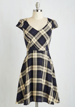 Work This Way Dress in Navy Plaid